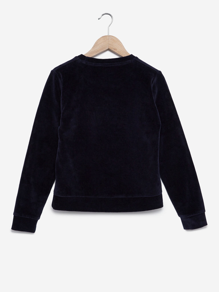 Y&F Kids Navy Text Print Velveteen Sweatshirt