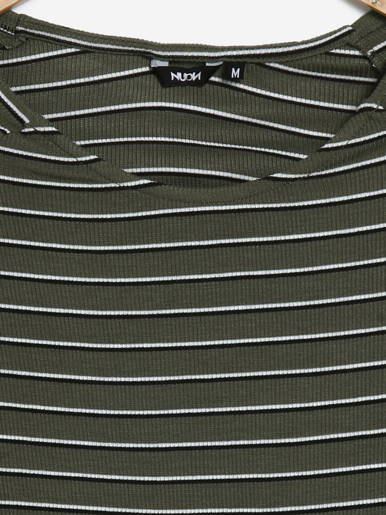 Nuon Khaki Striped Nadal Crop-Top
