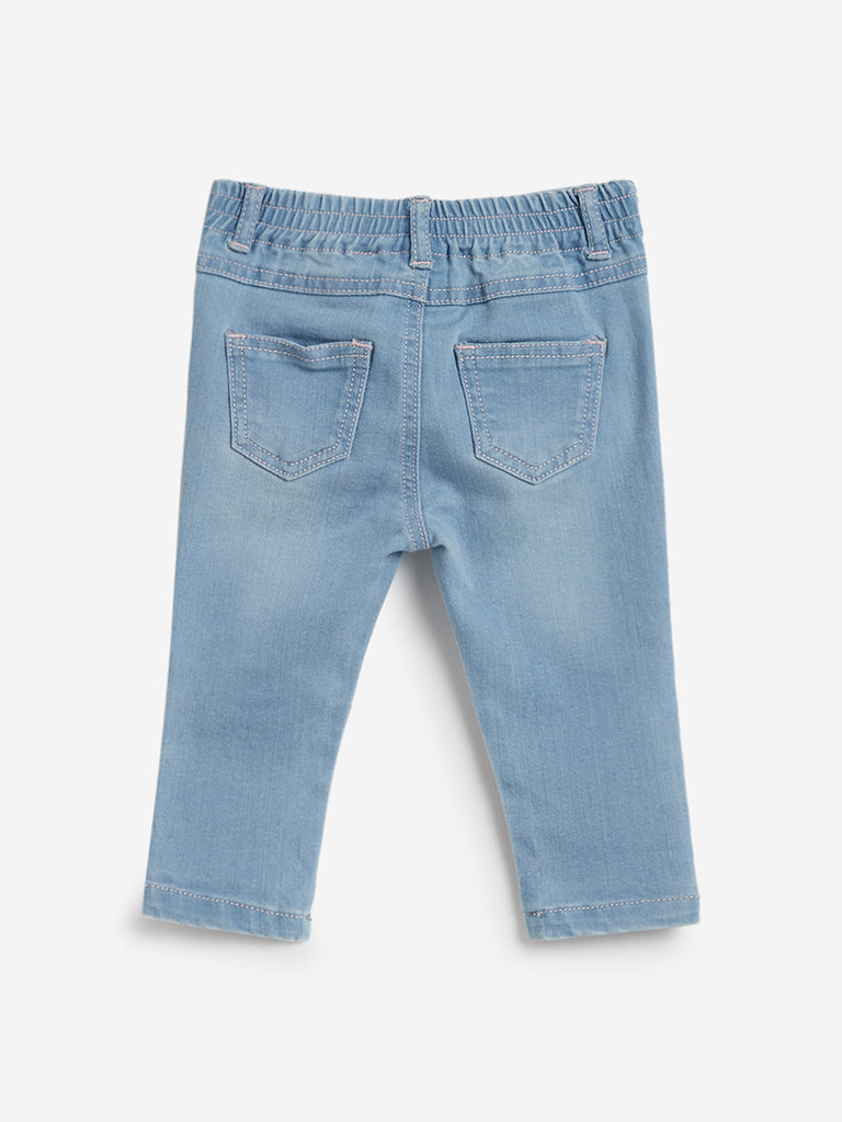 Baby HOP Blue Embroidered Unicorn Jeans