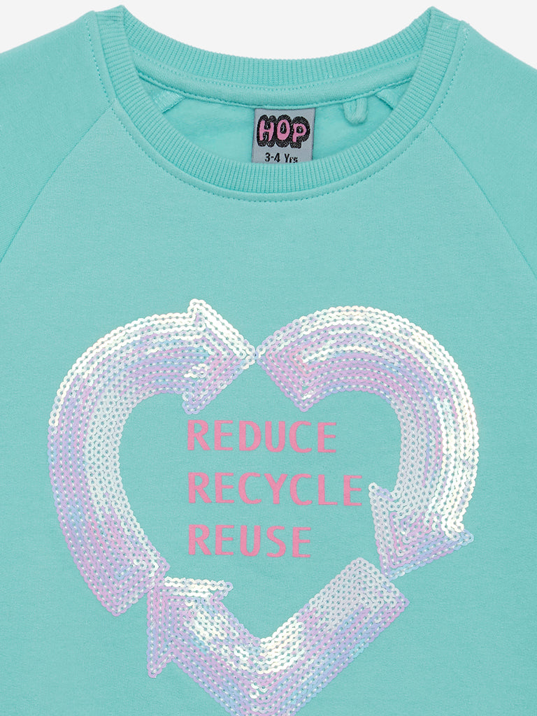 HOP Kids Aqua Recycle Sequin Design Sweatshirt