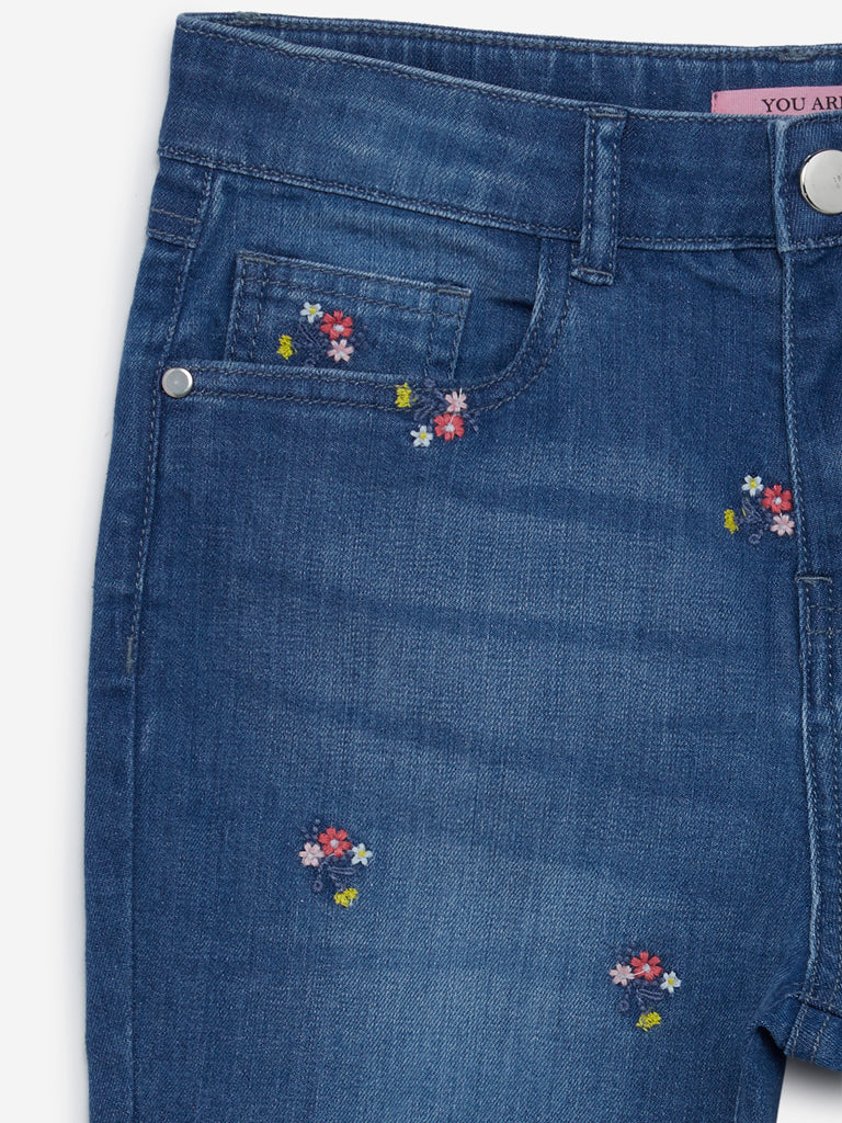 Y&F Kids Blue Floral Embroidered Jeans