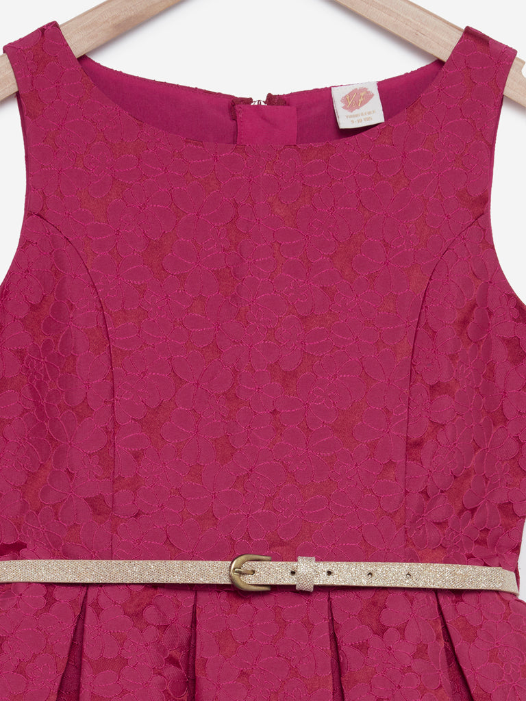 Y&F Kids Raspberry Floral Dress With Belt
