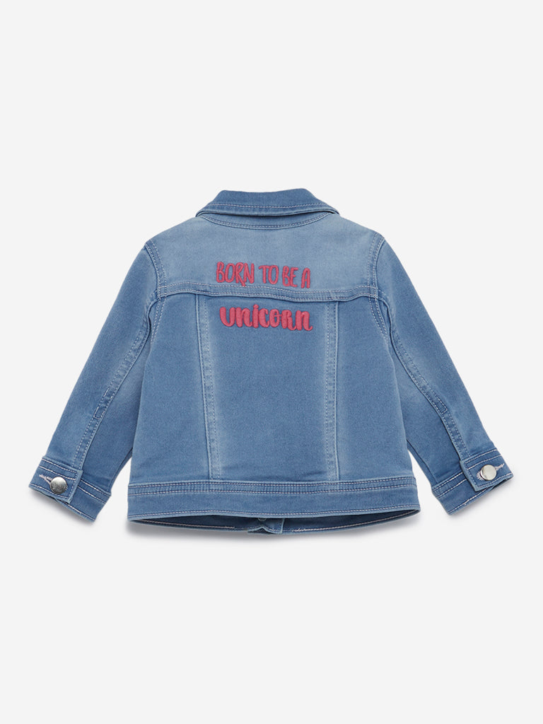 Baby HOP Blue Text Design Denim Jacket