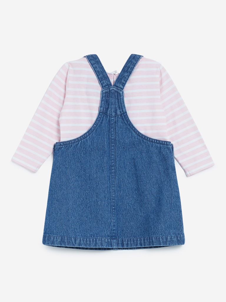Baby HOP Blue Pinafore And Striped T-Shirt Set
