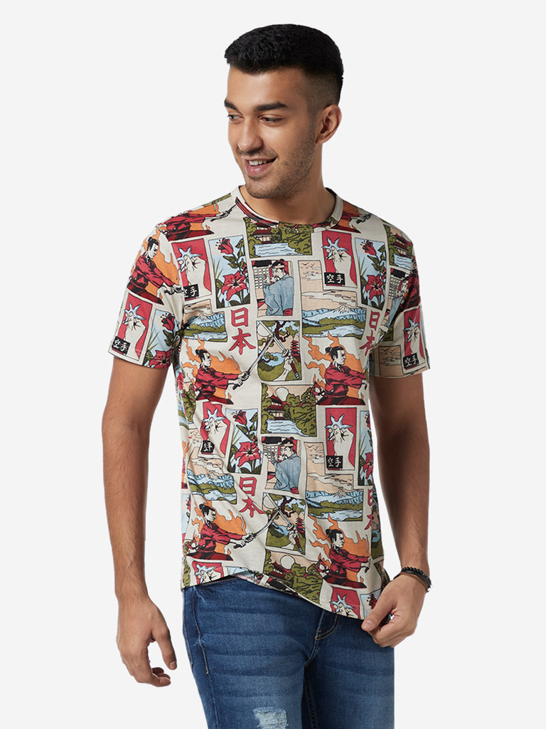 Nuon Multicolour Printed Slim Fit T-Shirt