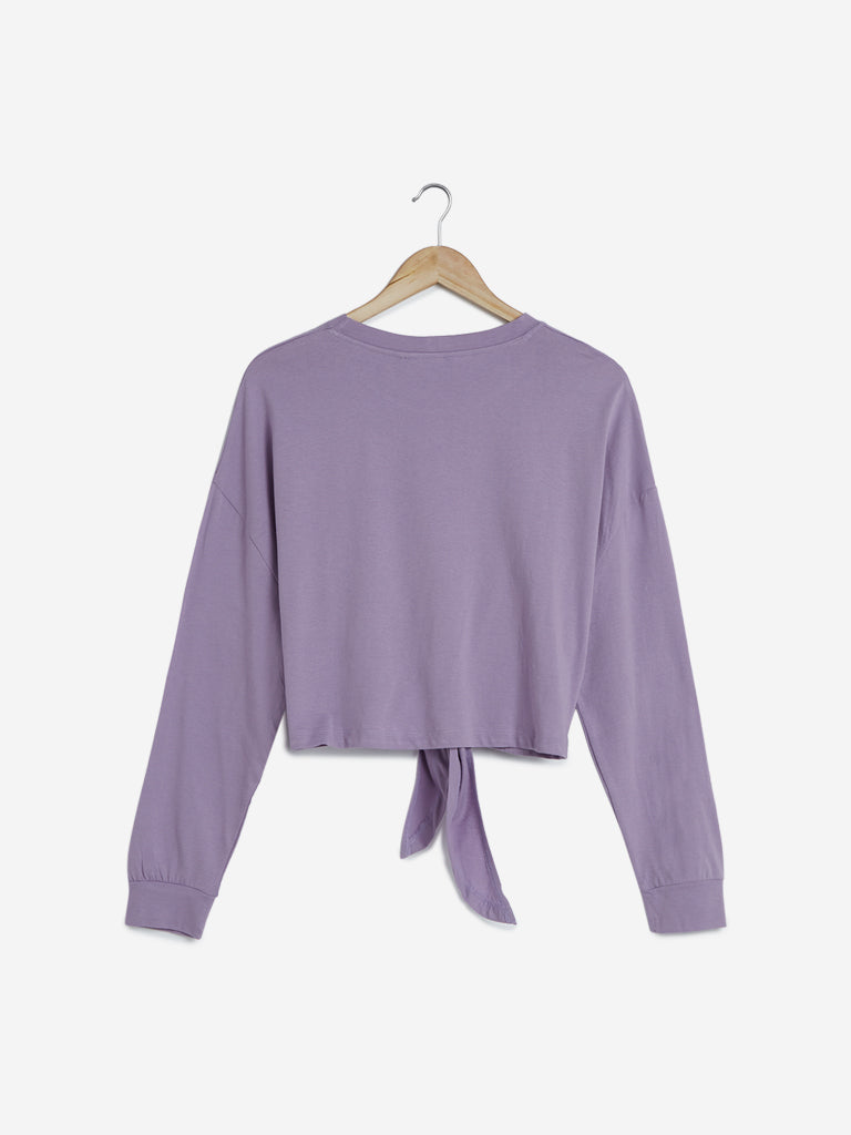 Nuon Lilac Tie-Up Detailed Crop-Top