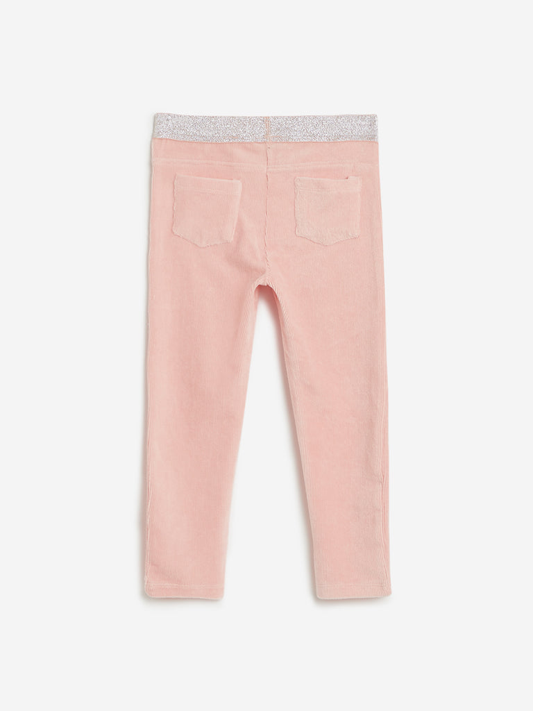 HOP Kids Peach Shimmering Corduroy Leggings