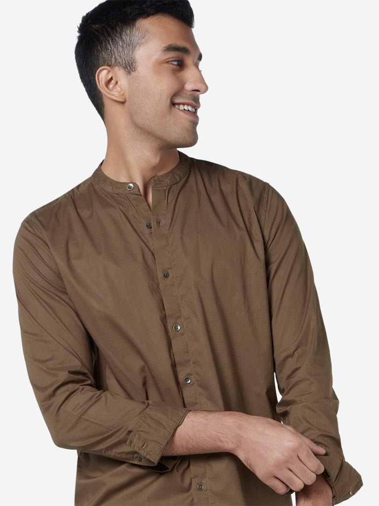 ETA Brown Pure Cotton Resort Fit Shirt