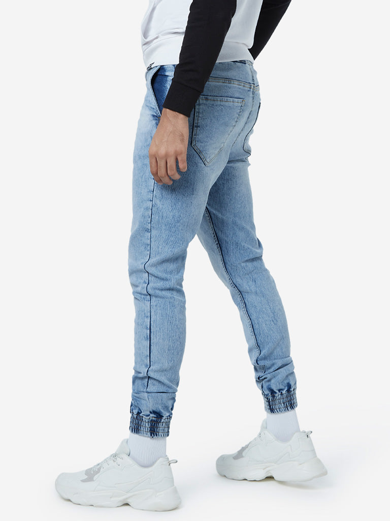 Nuon Light Blue Joggers-Style Carrot-Fit Jeans