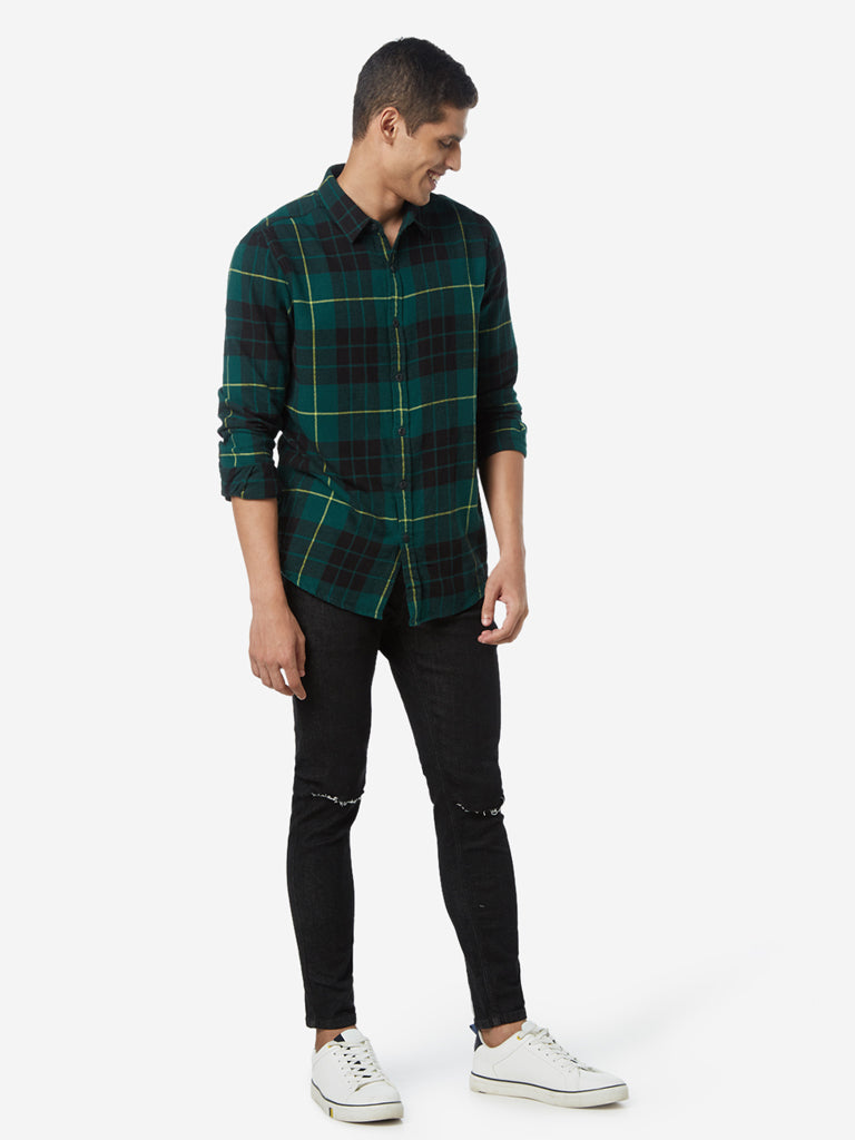 Nuon Green Checkered Print Slim Fit Shirt