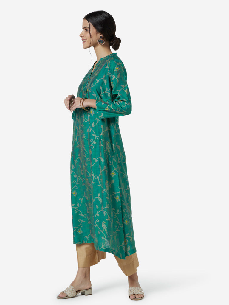 Utsa Green Floral Patterned A-line Kurta