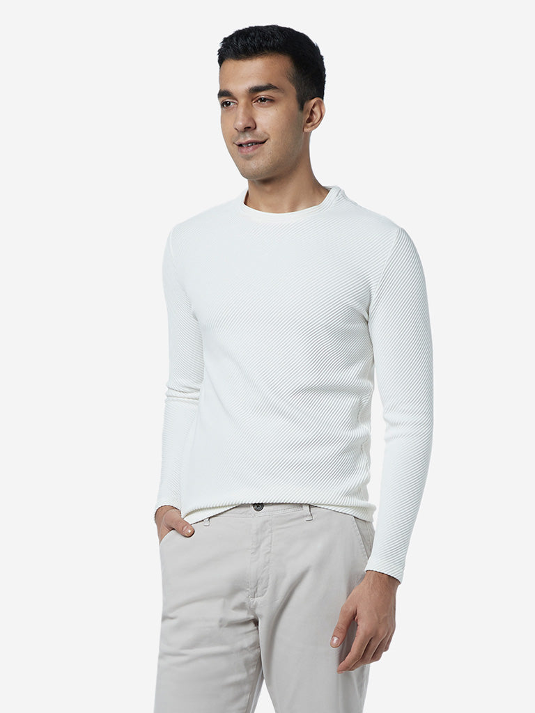 Ascot White Crewneck Slim Fit T-Shirt