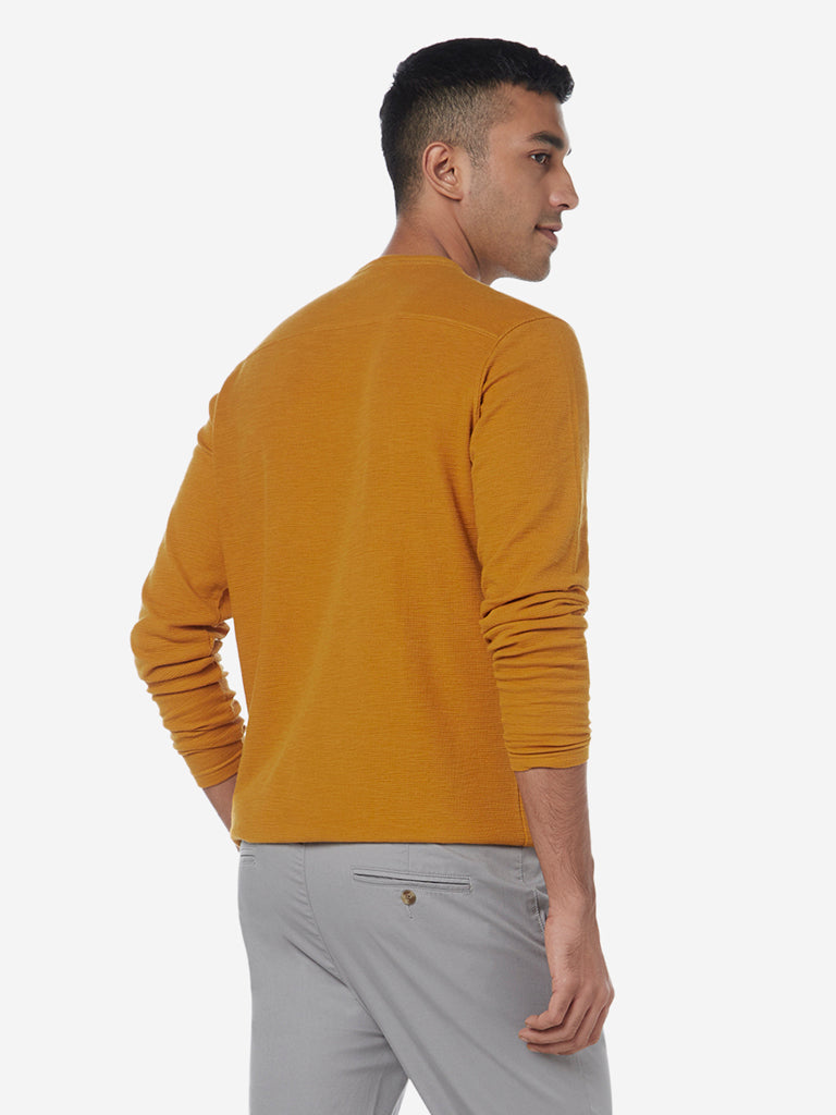 ETA Mustard Pure Cotton Slim Fit T-Shirt
