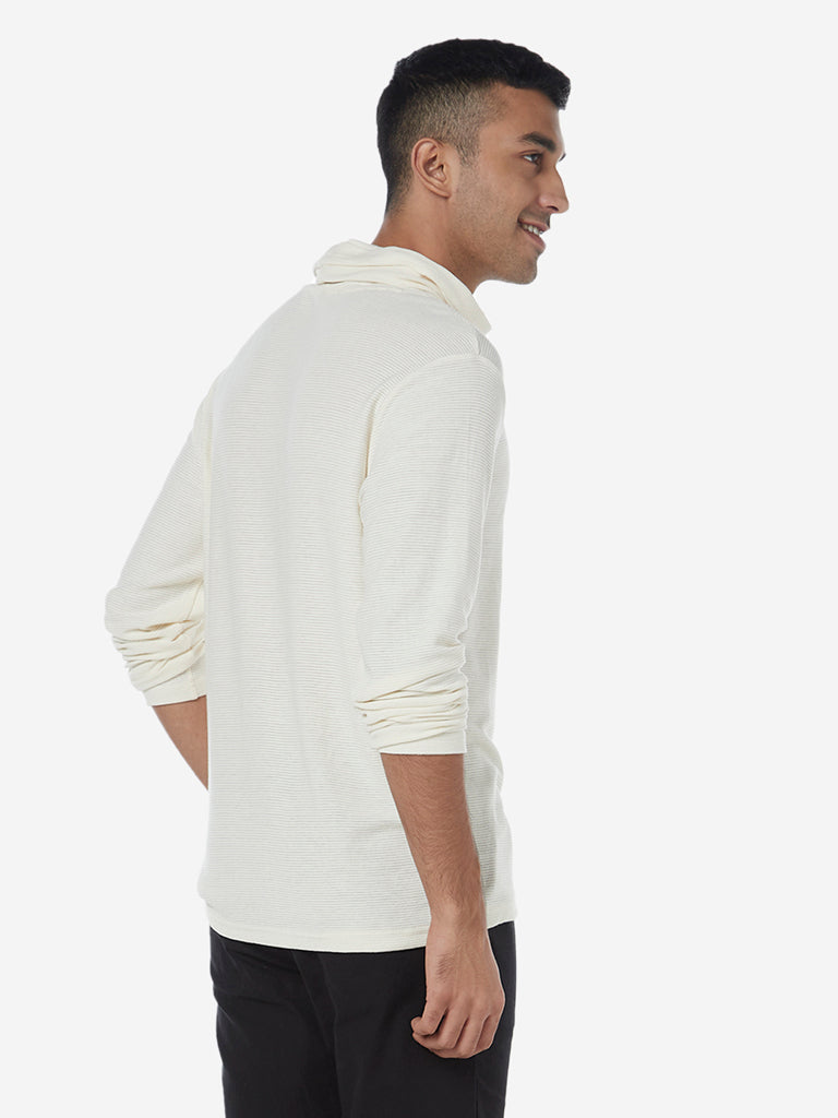 ETA Off White Turtleneck Slim Fit T-Shirt