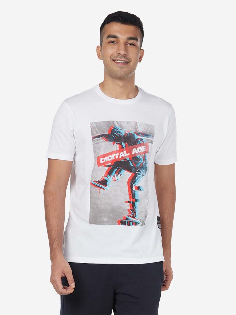 Studiofit White Graphic Slim Fit Crewneck T-Shirt