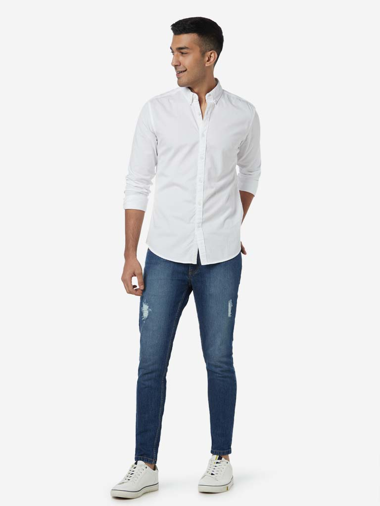 Nuon White Pure Cotton Slim Fit Shirt