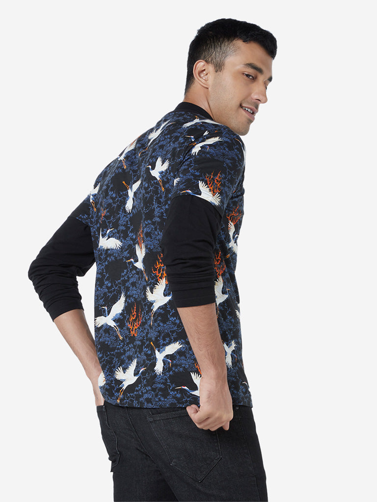 Nuon Navy Bird Print Slim Fit T-Shirt
