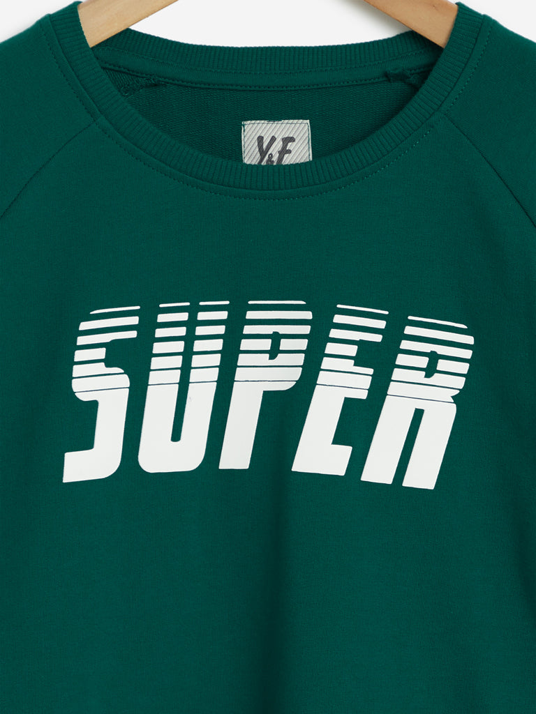 Y&F Kids Dark Green Text Pattern T-Shirt