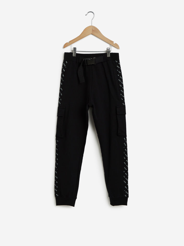 Y&F Kids Black Belted Cargo Joggers