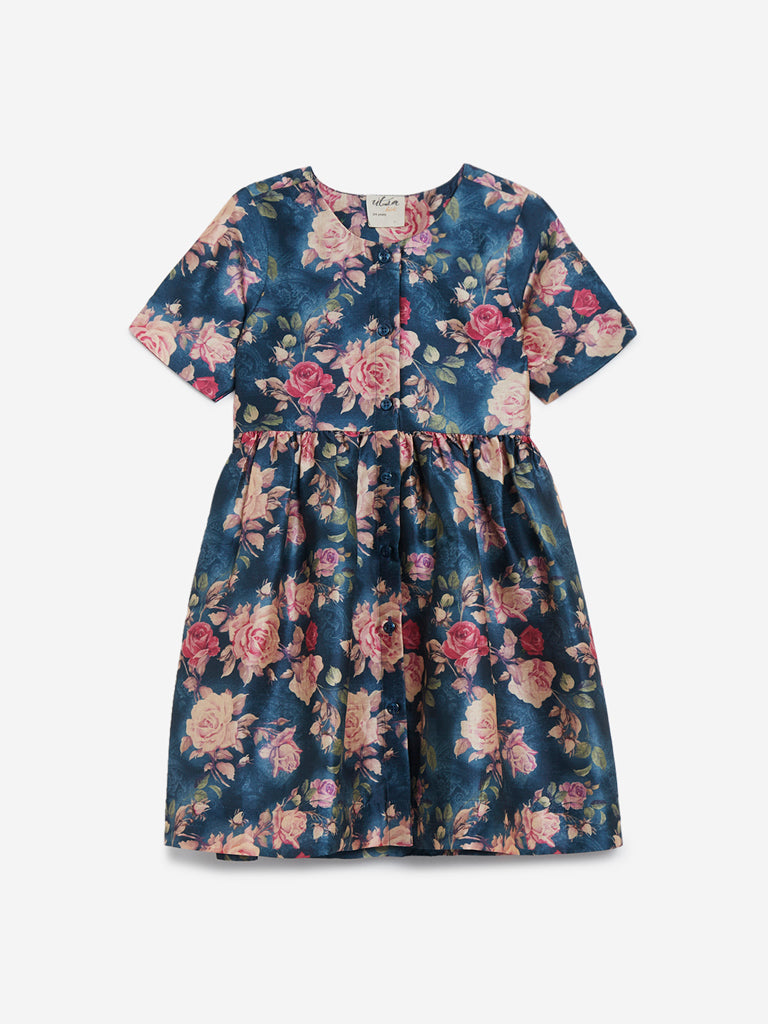 Utsa Kids Teal Fit-And-Flare Floral Dress