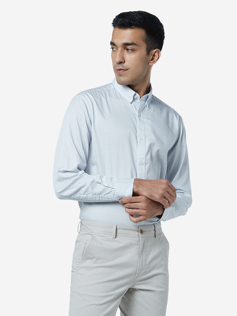 Ascot Light Grey Printed Relaxed Fit Shirt