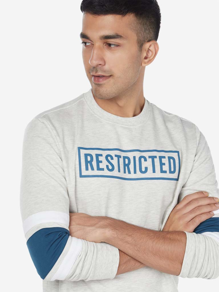 Studiofit Off White Text Slim Fit Sweatshirt