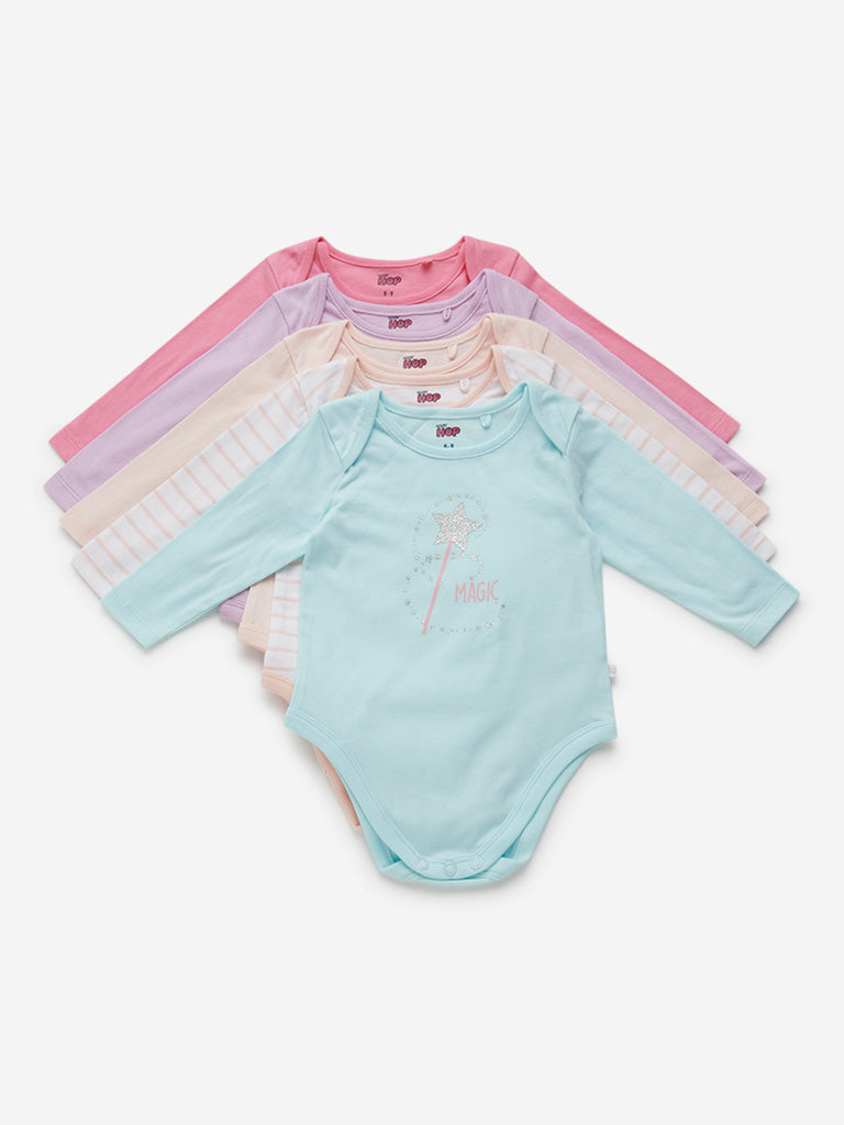 Baby HOP Multicolour Striped Romper Set of Five