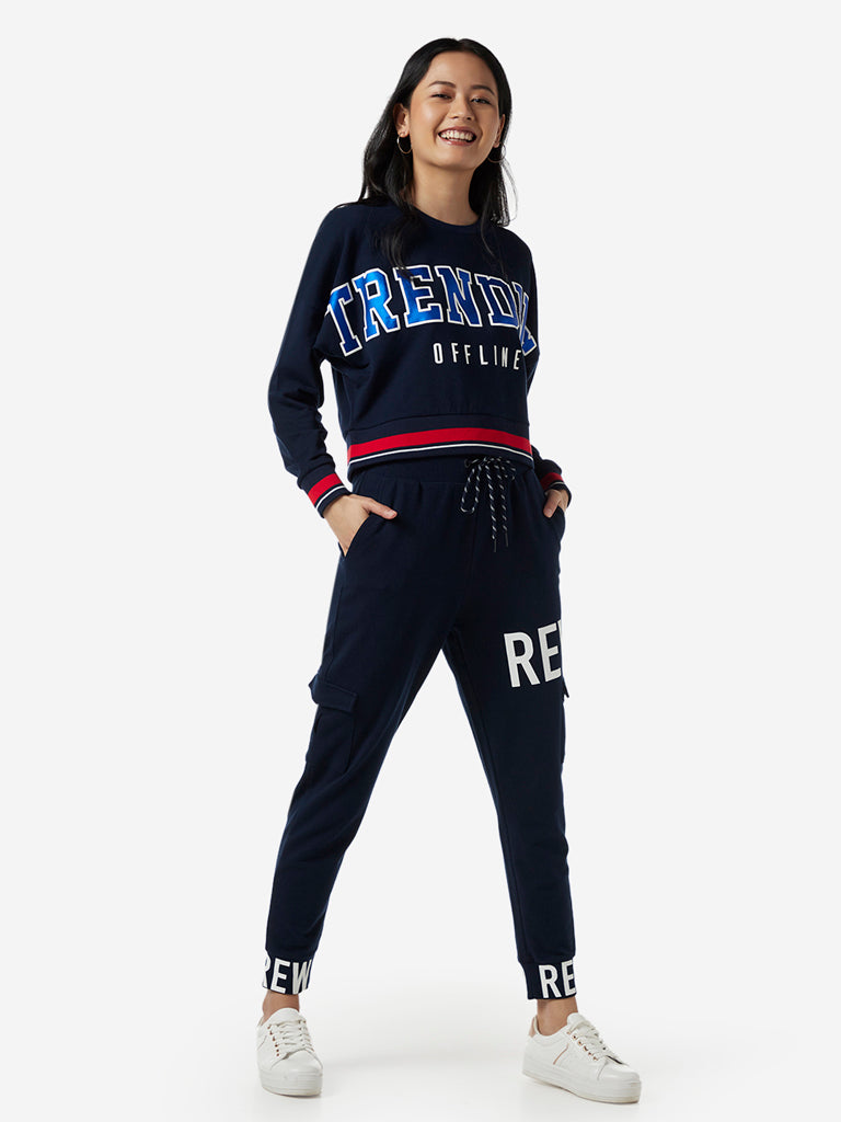 Studiofit Navy Text Pattern Joggers