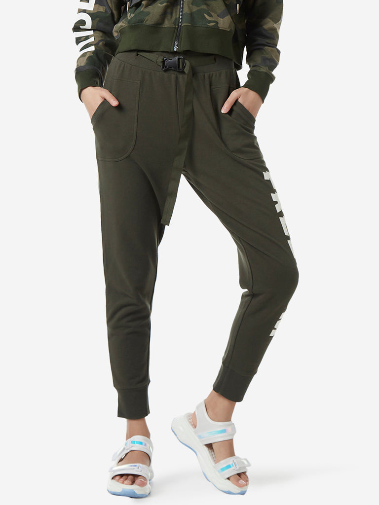 Studiofit Olive Text Printed Joggers