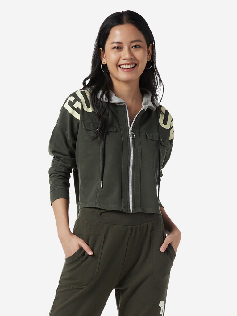 Studiofit Olive Text Print Hooded Crop Jacket