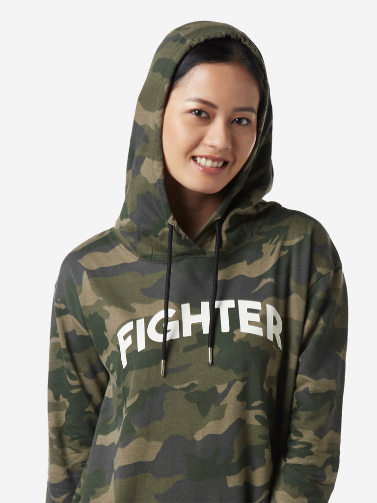 Studiofit Olive Camouflage Print Hooded Dress