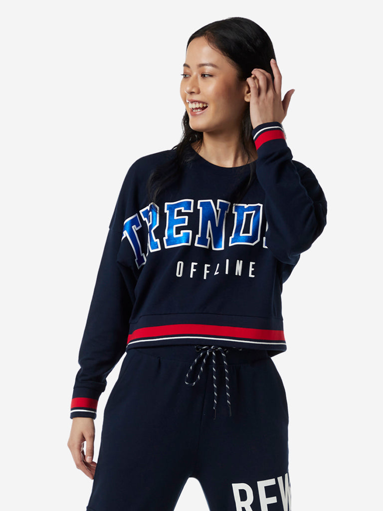 Studiofit Navy Text Design Cropped Sweatshirt