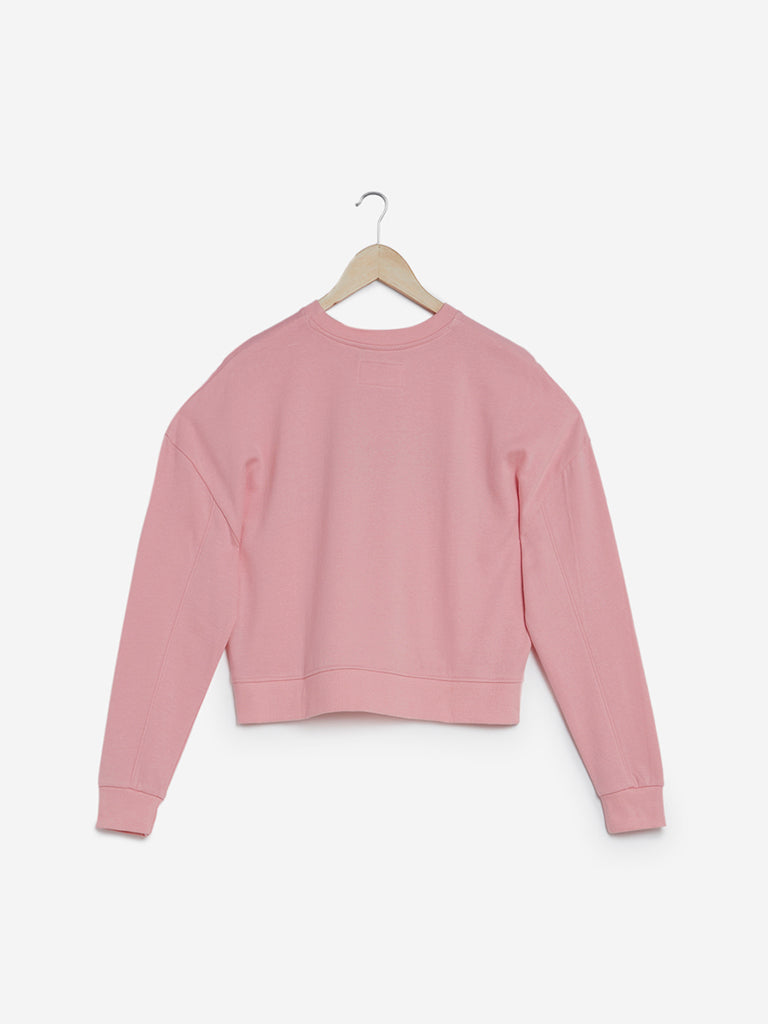 Studiofit Light Pink Printed Cropped Sweatshirt