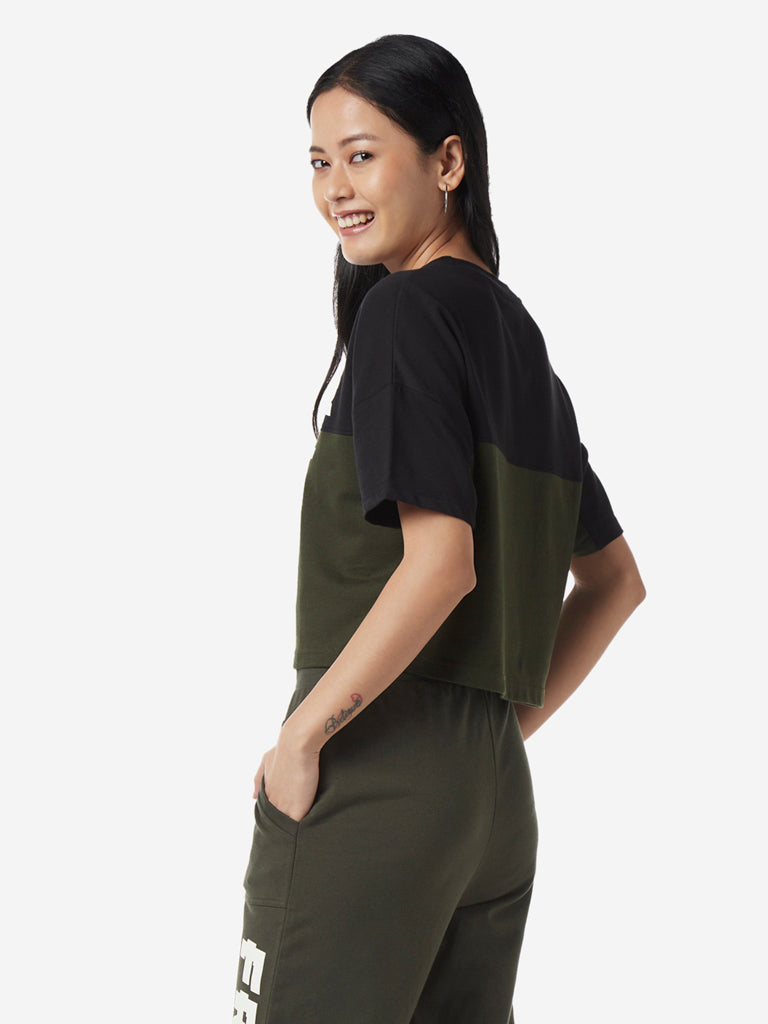 Studiofit Olive Colour-Blocked Crop T-Shirt