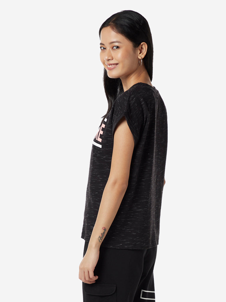 Studiofit Black Text Print T-Shirt
