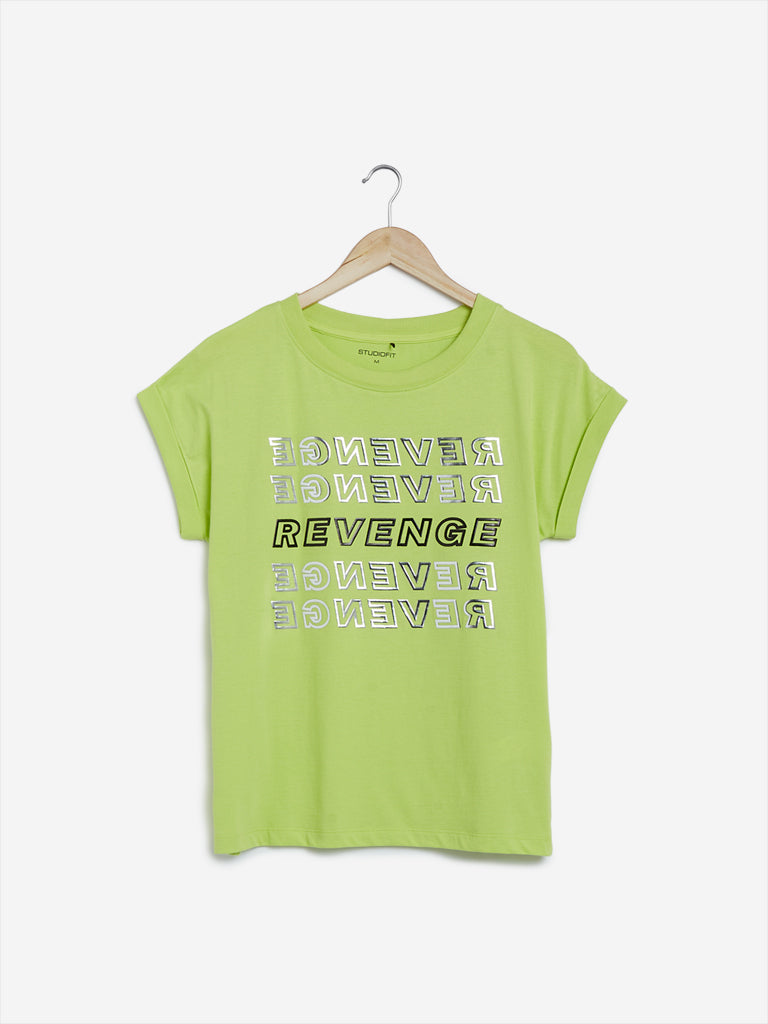 Studiofit Lime Text Printed Power T-Shirt