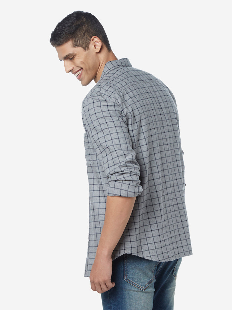 WES Casuals Light Grey Checkered Slim Fit Shirt