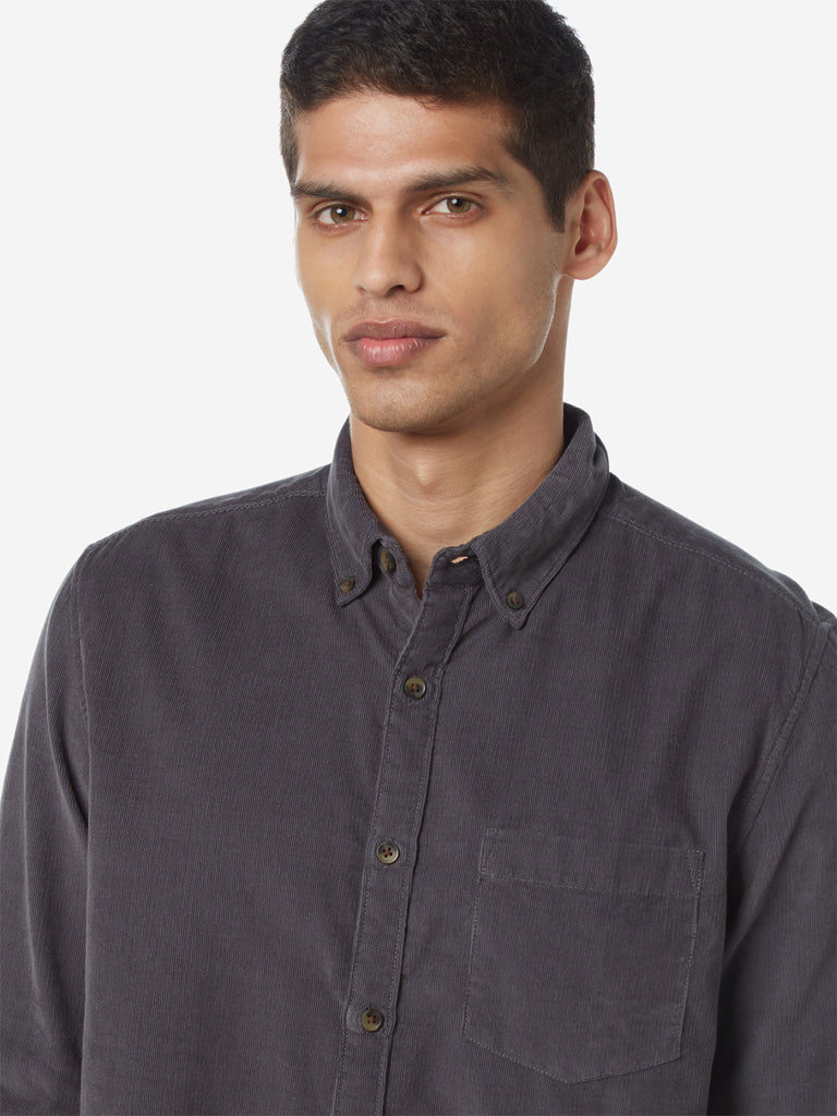 WES Casuals Grey Slim Fit Corduroy Shirt