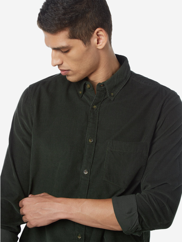 WES Casuals Olive Slim Fit Corduroy Shirt