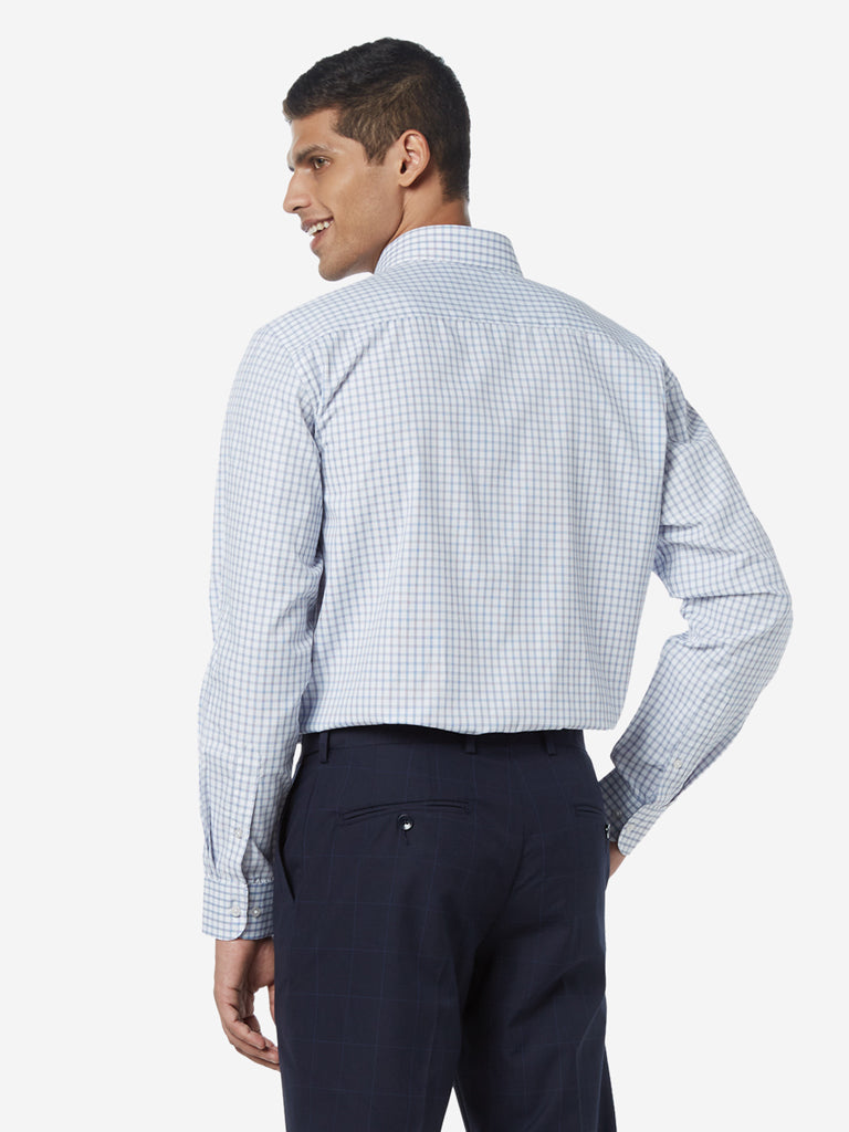 WES Formals Blue Checked Relaxed Fit Shirt