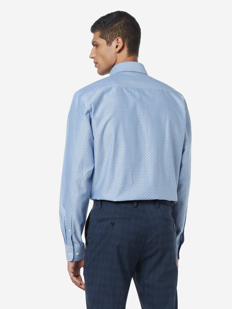 WES Formals Blue Printed Relaxed Fit Shirt