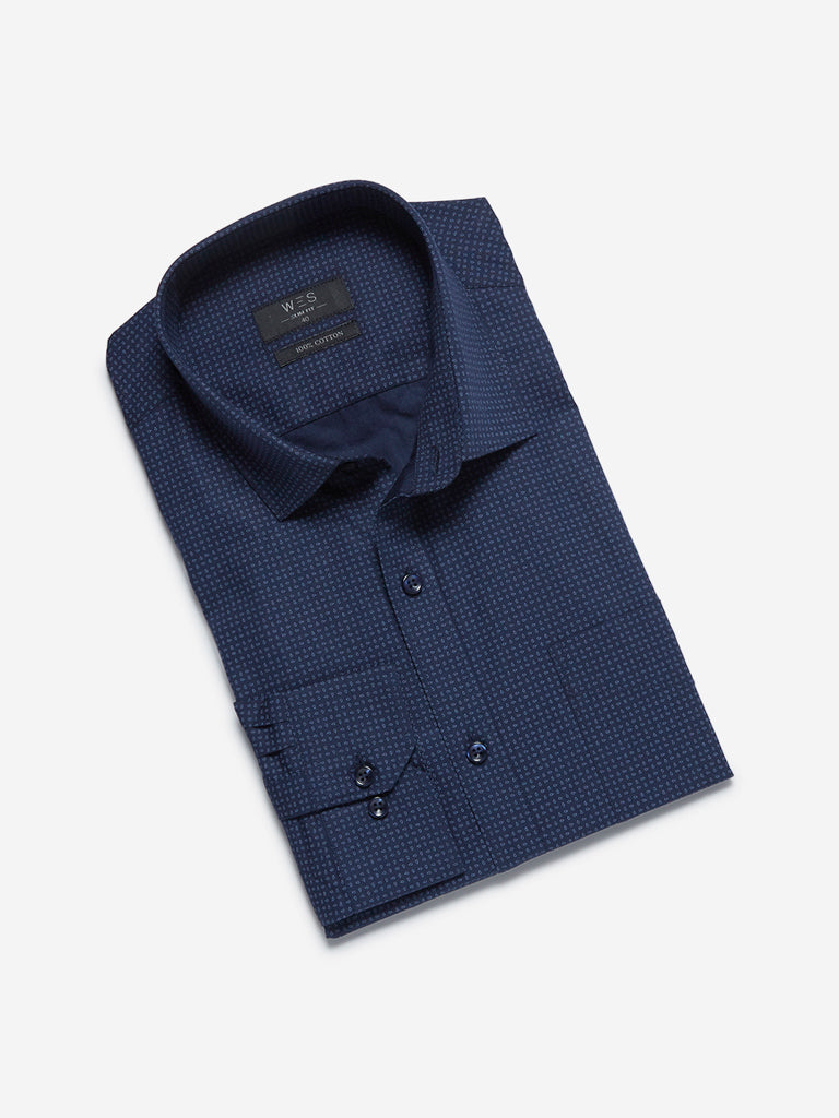 WES Formals Navy Abstract Print Slim Fit Shirt