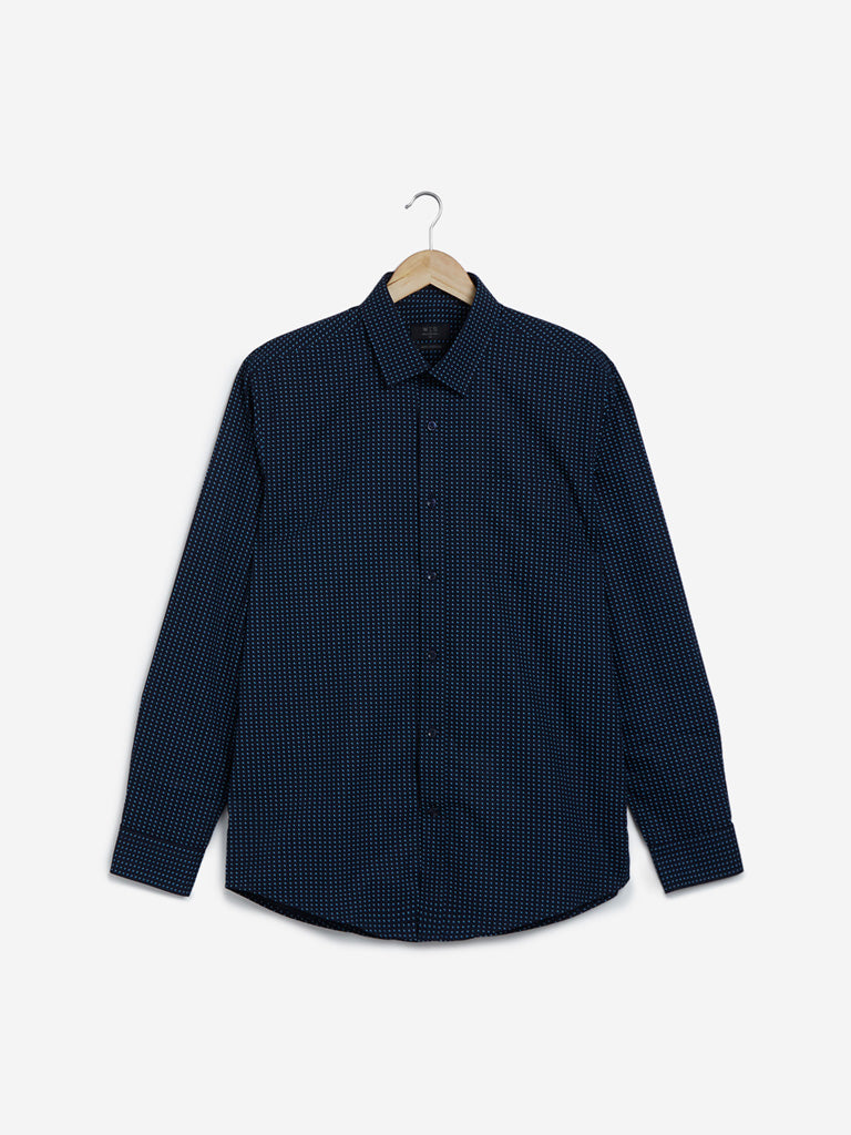 WES Formals Navy Printed Relaxed Fit Shirt