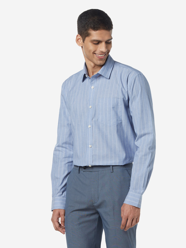WES Formals Light Blue Striped Relaxed Fit Shirt