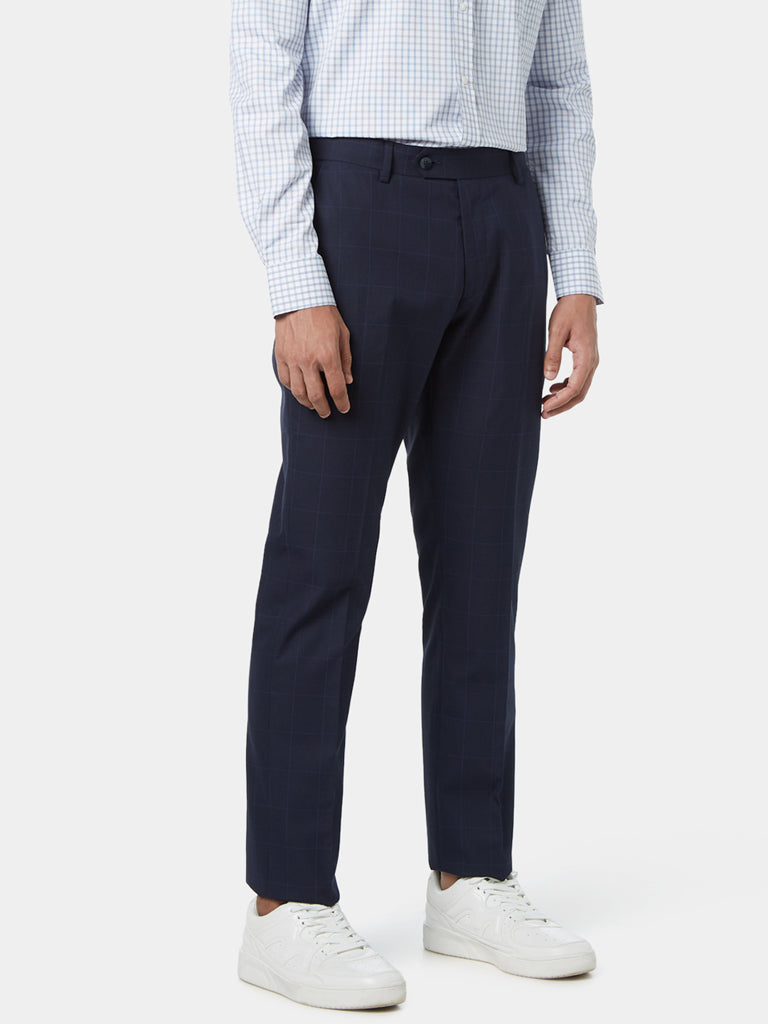 WES Formals Navy Relaxed Fit Checked Trousers