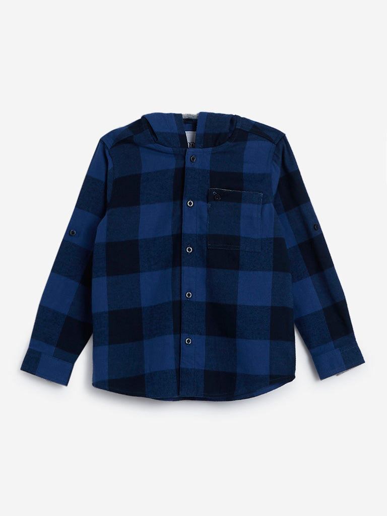 HOP Kids Blue Checked Hooded Shirt