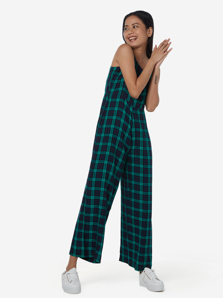 Nuon Navy Checkered Jumpsuit