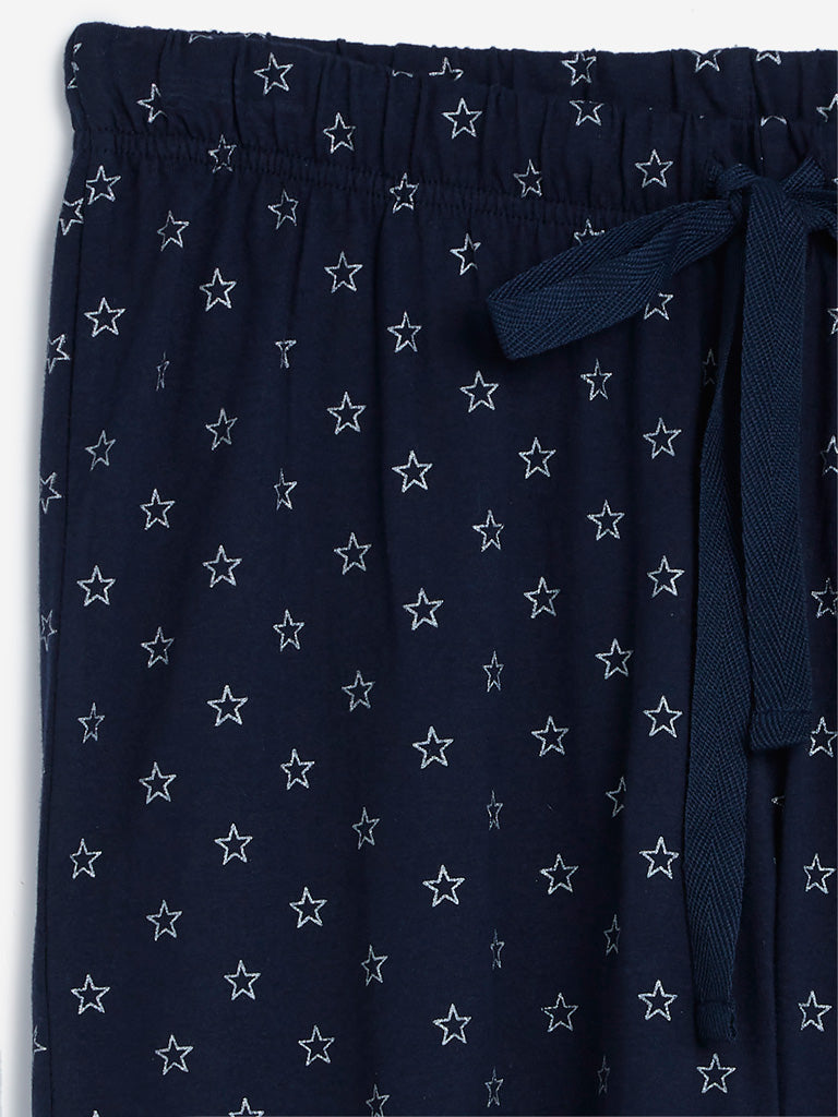 Wunderlove Navy Star Pattern Pyjamas