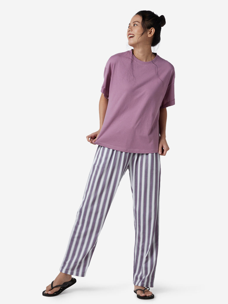 Wunderlove Lilac Oversized Solid T-Shirt