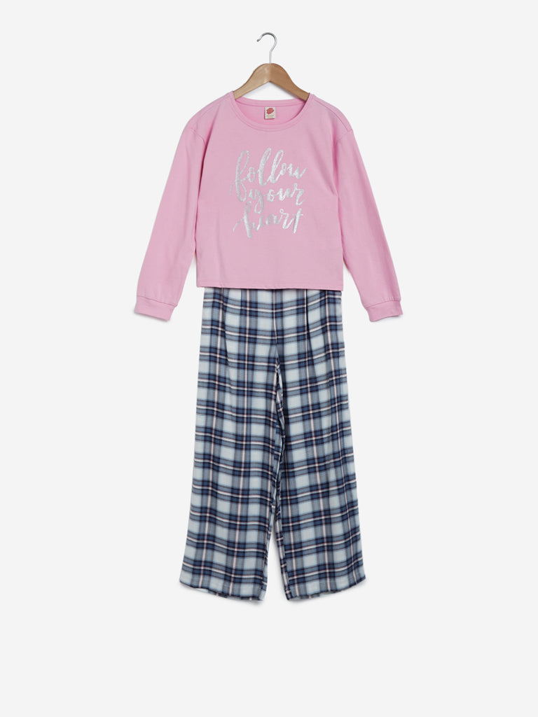 Y&F Kids Pink Cotton T-Shirt And Pyjamas Set